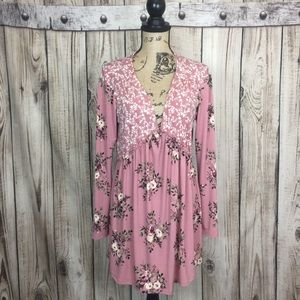 Two Beautiful Maternity Pink Floral Blouse Large